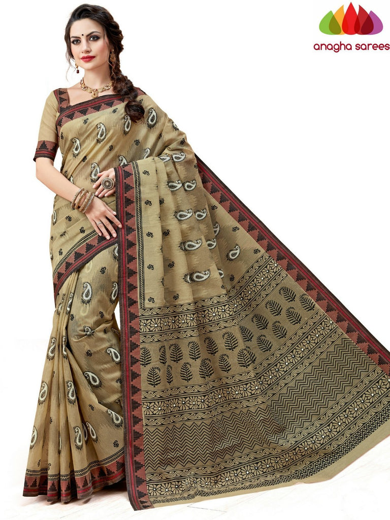 Fancy Cotton Saree - Beige-Black : ANA_591 Anagha Sarees