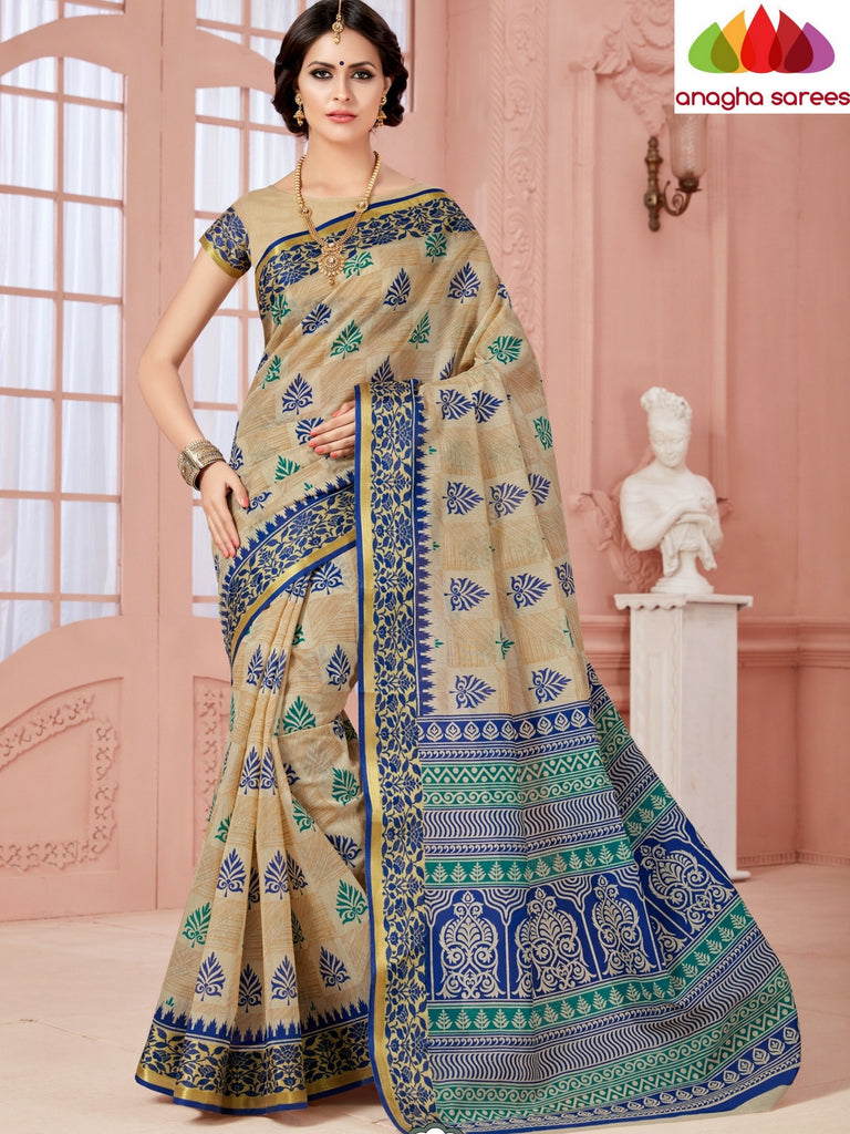 Fancy Cotton Saree - Beige/Blue/ Zari-Woven Border : ANA_339 Anagha Sarees