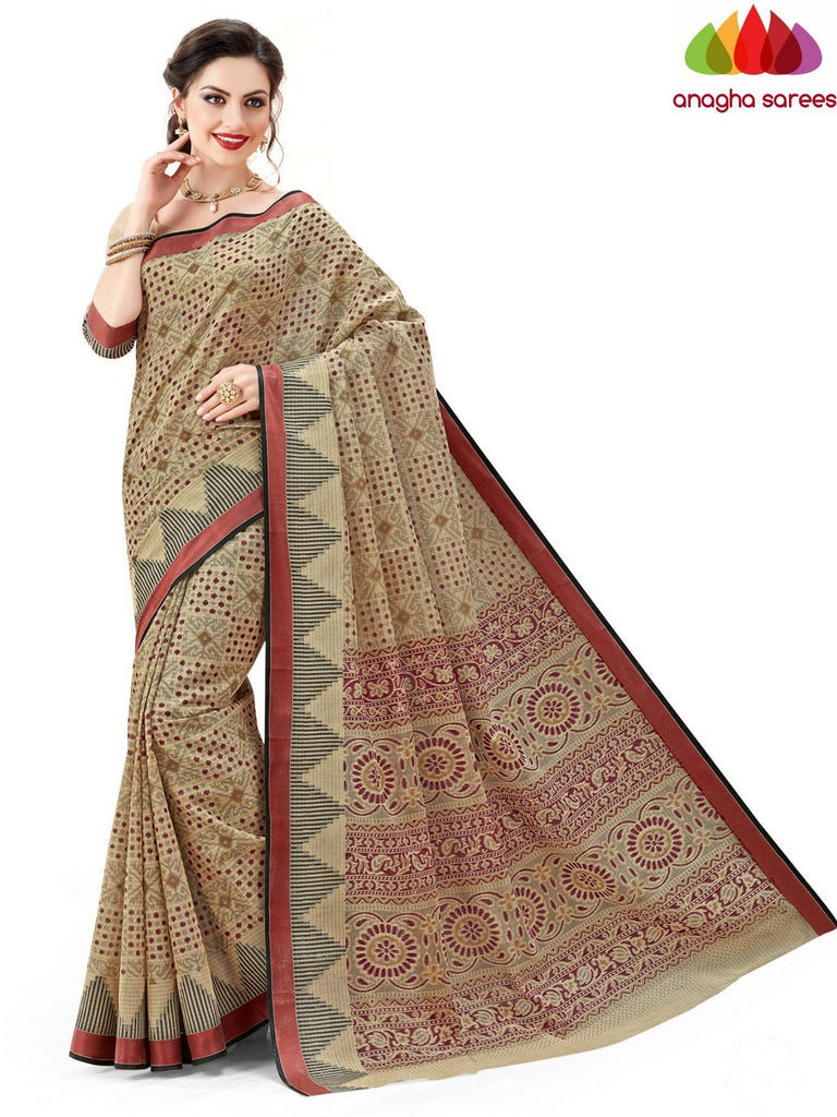 Fancy Cotton Saree - Beige-Multicolor : ANA_595 Anagha Sarees
