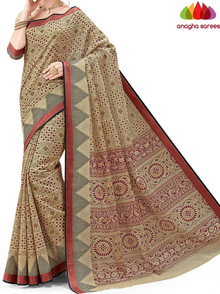 Anagha Sarees Cotton saree Fancy Cotton Saree - Beige-Multicolor : ANA_595