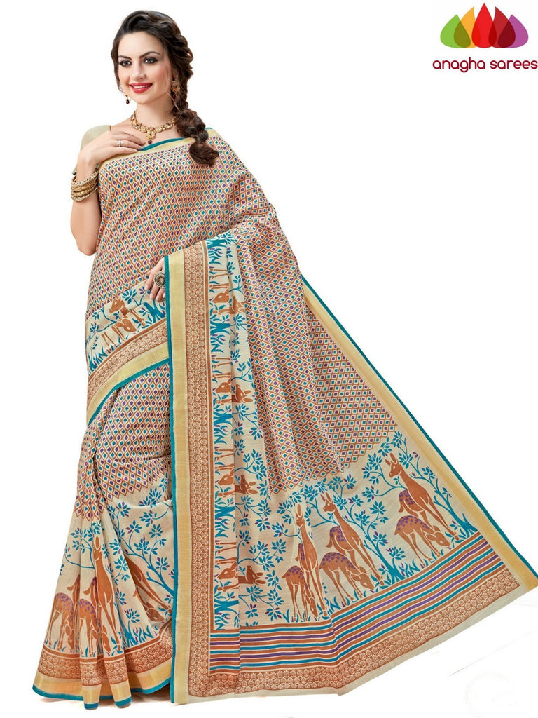 Fancy Cotton Saree - Beige-Multicolor : ANA_596 Anagha Sarees