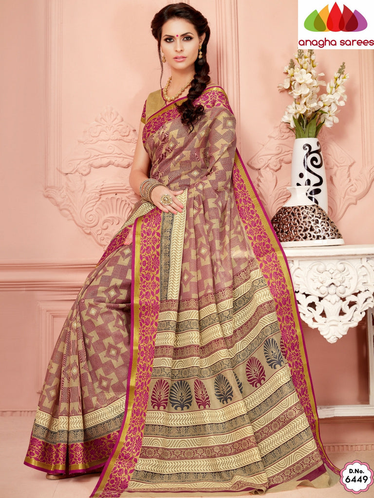 Fancy Cotton Saree - Beige/Pink/ Zari-Woven Border : ANA_341 Anagha Sarees
