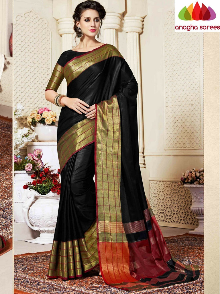 Fancy Cotton Saree - Black : ANA_860 Anagha Sarees