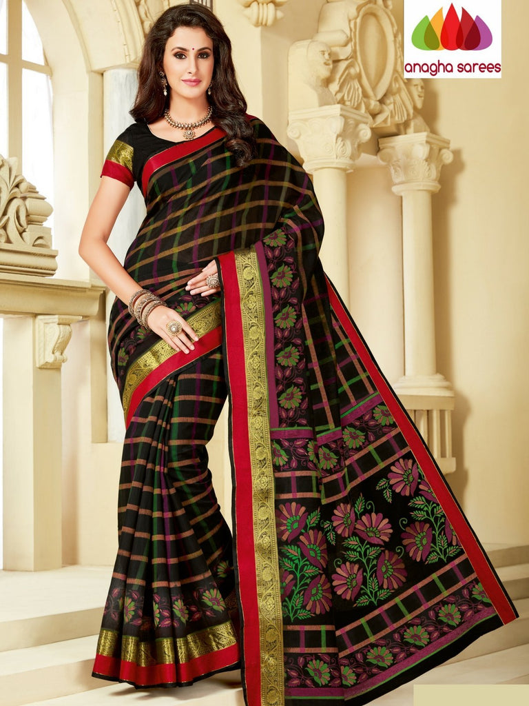 Fancy Cotton Saree - Black : ANA_998 Anagha Sarees