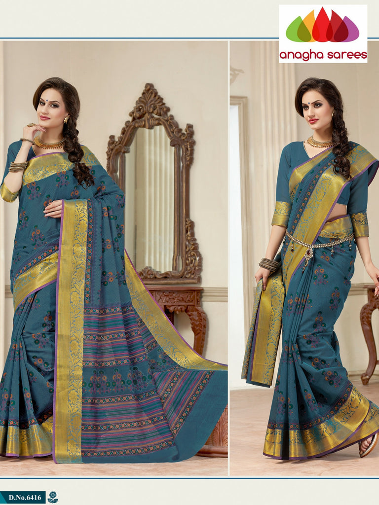 Fancy Cotton Saree - Blue : ANA_124 Anagha Sarees