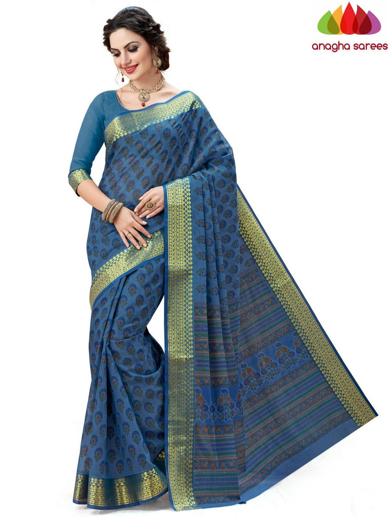 Anagha Sarees Cotton saree Fancy Cotton Saree - Blue : ANA_597
