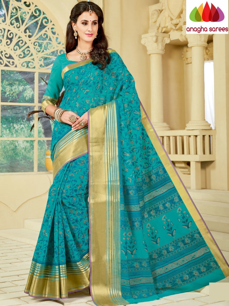 Anagha Sarees Cotton saree Fancy Cotton Saree  Blue -: ANA_A09