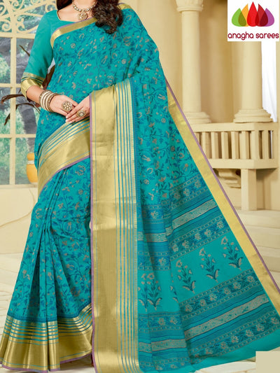Fancy Cotton Saree - Blue : ANA_A09 - Anagha Sarees
