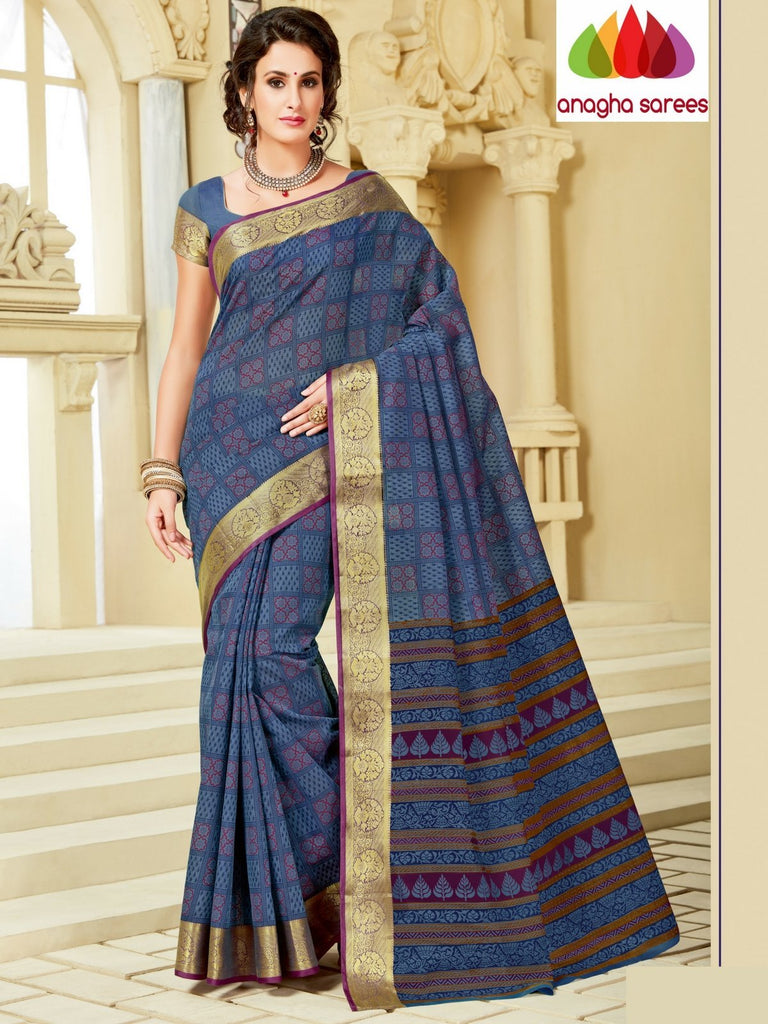 Fancy Cotton Saree - Blue : ANA_A14 Anagha Sarees