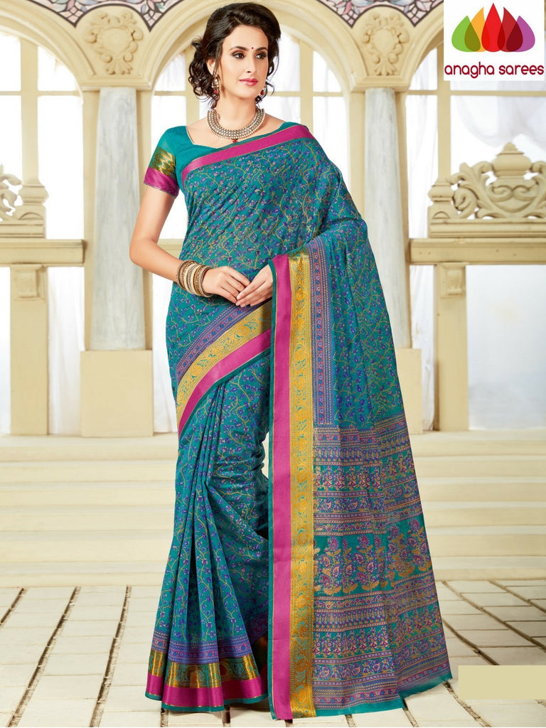 Fancy Cotton Saree - Blue : ANA_A16 Anagha Sarees