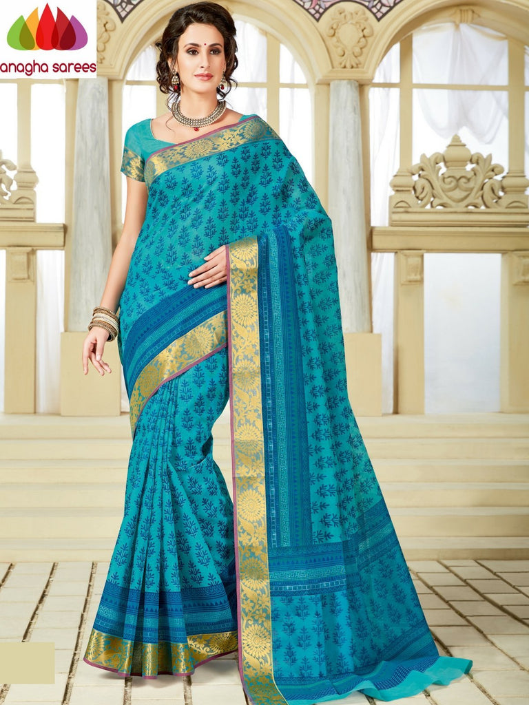 Fancy Cotton Saree - Blue : ANA_A22 Anagha Sarees