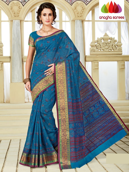 Fancy Cotton Saree - Blue : ANA_A24