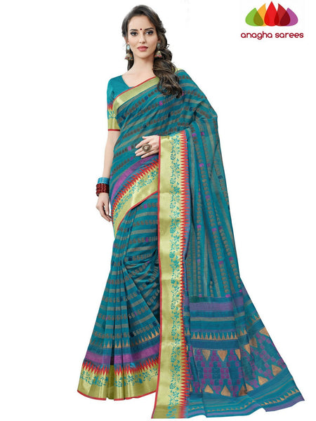 Fancy Cotton Saree - Blue : ANA_D01