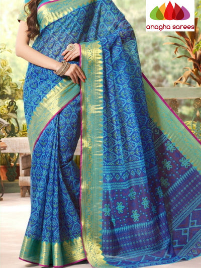 Fancy Cotton Saree - Blue/Big Zari Border : ANA_219 - Anagha Sarees