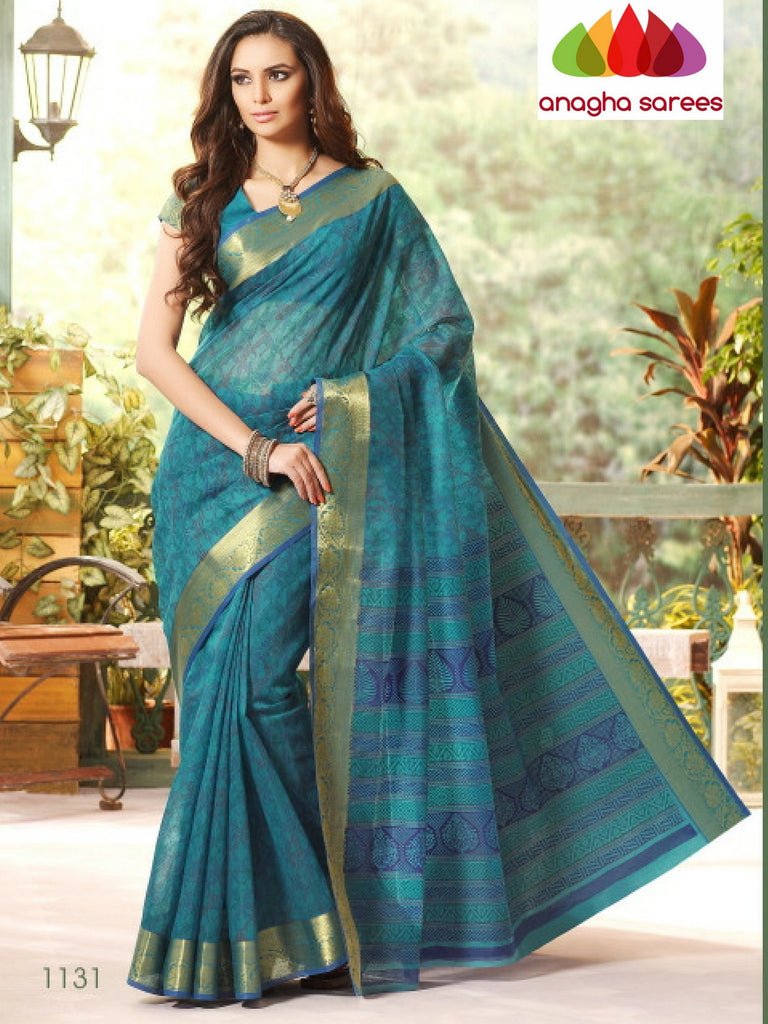 Fancy Cotton Saree - Blue/Big Zari Border : ANA_224 Anagha Sarees