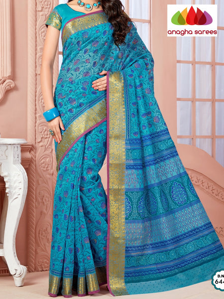 Anagha Sarees Cotton saree Fancy Cotton Saree - Blue/Big Zari Border : ANA_334
