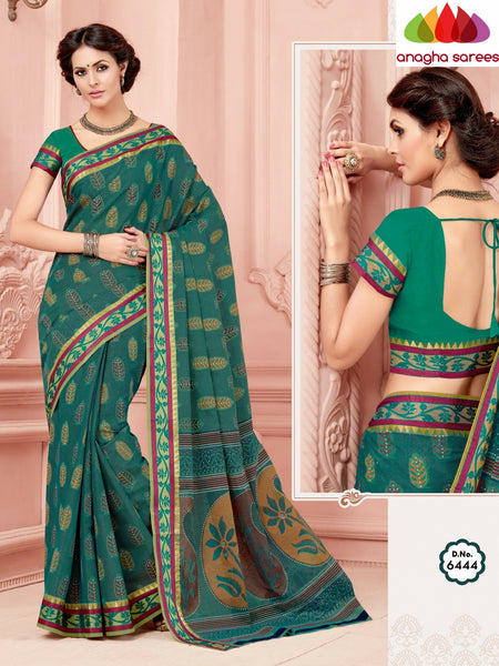 Anagha Sarees Cotton saree Fancy Cotton Saree - Bluish Green/Zari-Woven Border : ANA_347
