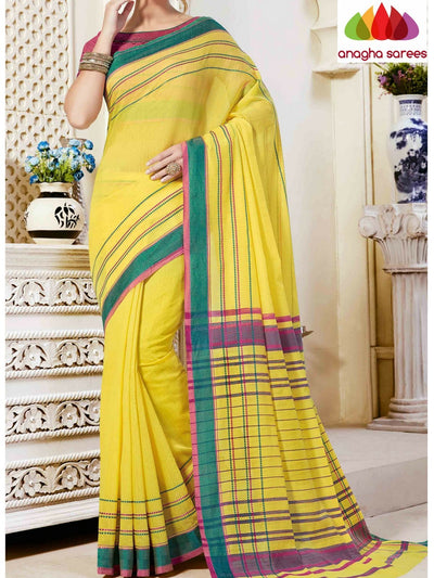 Fancy Cotton Saree - Bright Yellow : ANA_861 - Anagha Sarees