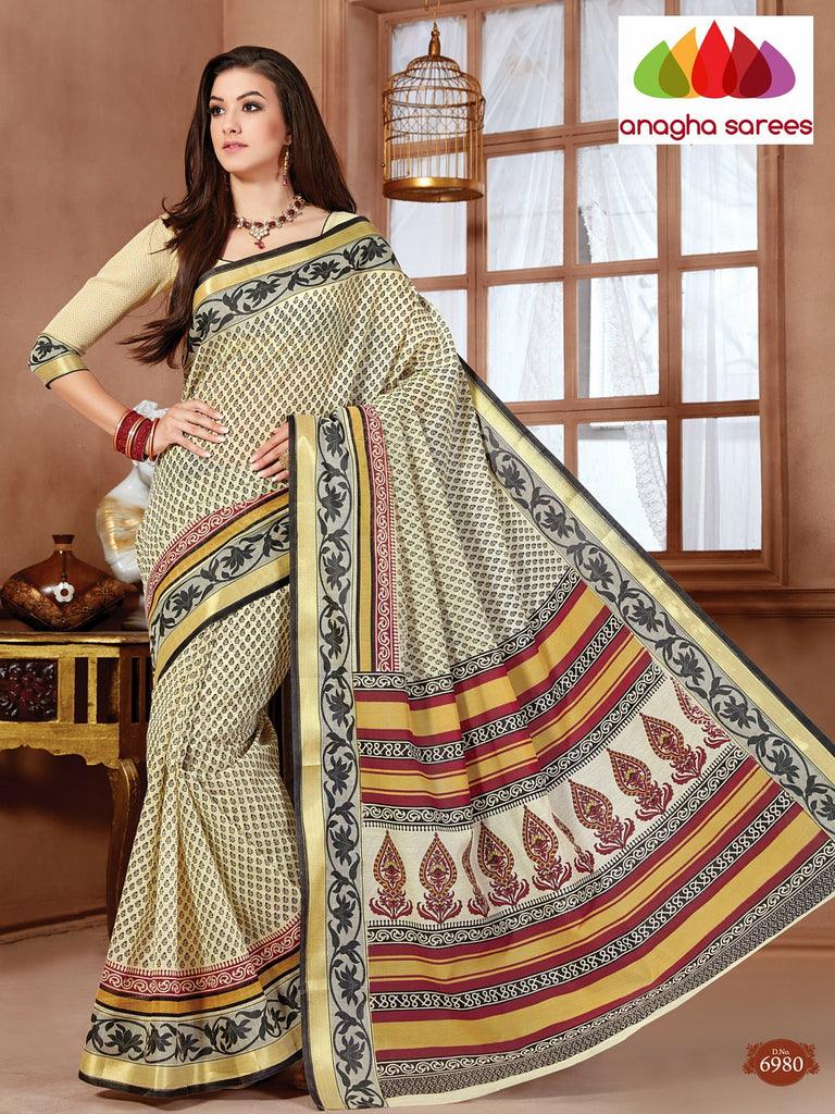 Anagha Sarees Cotton saree Fancy Cotton Saree - Cream/Multicolor : ANA_91
