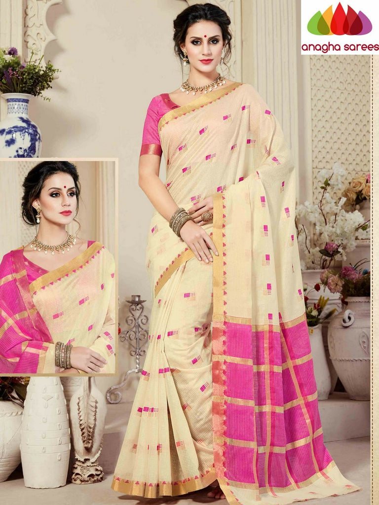 Fancy Cotton Saree - Cream/Pink : ANA_862 Anagha Sarees