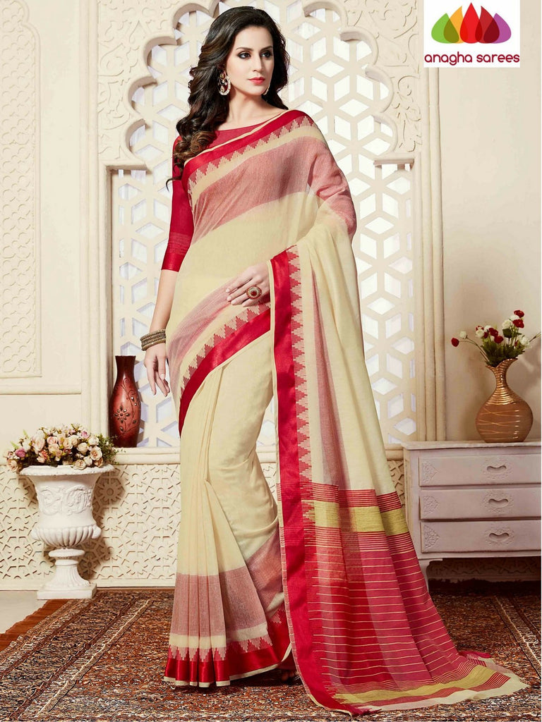 Fancy Cotton Saree - Cream/Red : ANA_863 Anagha Sarees