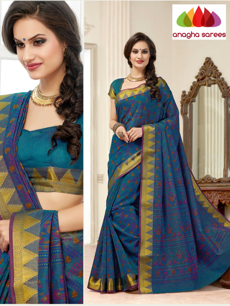 Anagha Sarees Cotton saree Fancy Cotton Saree - Dark blue : ANA_122