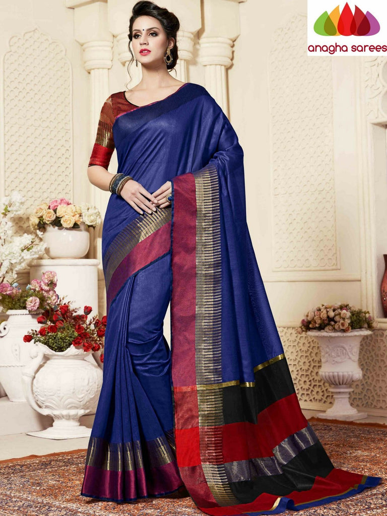 Fancy Cotton Saree - Dark Blue : ANA_864 Anagha Sarees