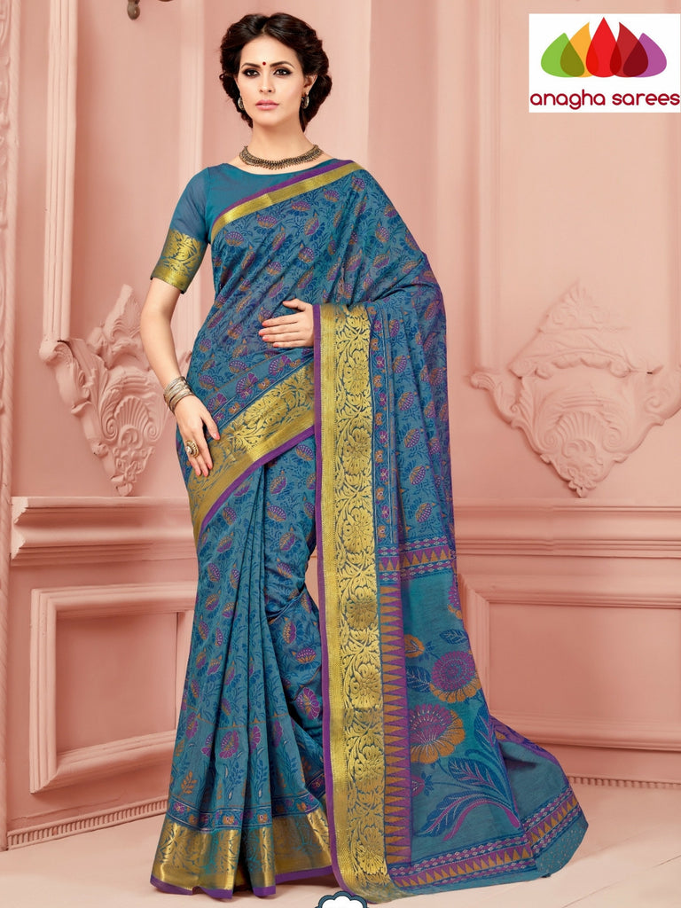 Anagha Sarees Cotton saree Fancy Cotton Saree - Dark Blue/Big Zari Border : ANA_331