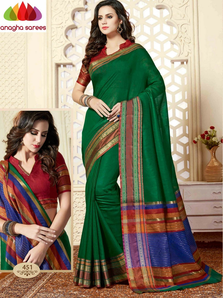 Fancy Cotton Saree - Dark Green/ Red : ANA_865 Anagha Sarees