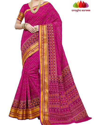 Fancy Cotton Saree - Dark Pink : ANA_D07 - Anagha Sarees