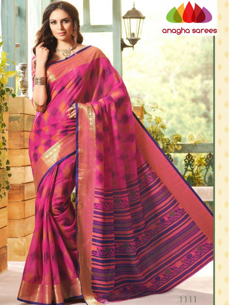 Anagha Sarees Cotton saree Fancy Cotton Saree - Dark Pink/Big Zari Border : ANA_221