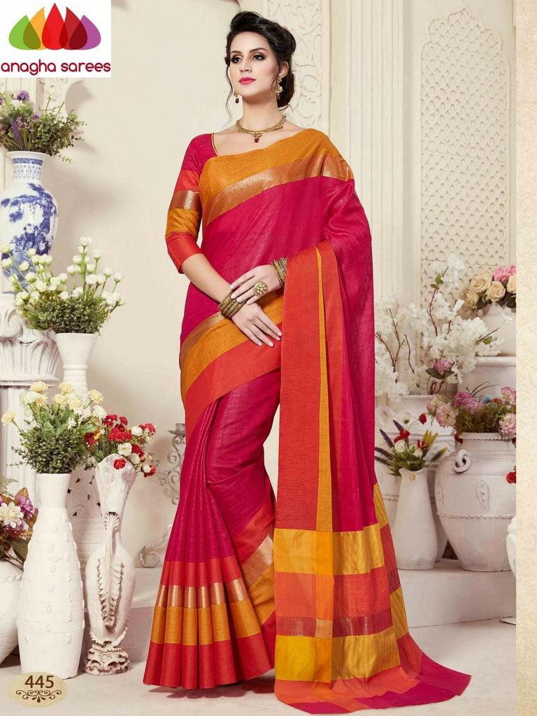Fancy Cotton Saree - Dark Pink/Mustard : ANA_866 Anagha Sarees