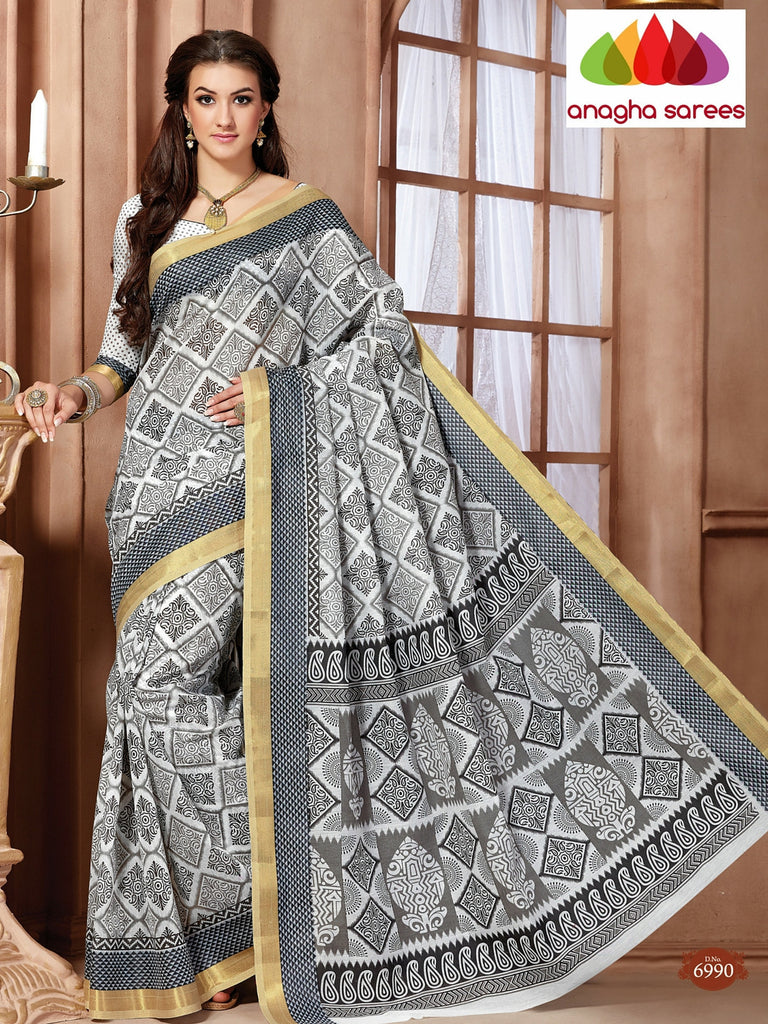 Anagha Sarees Cotton saree Fancy Cotton Saree - Grey : ANA_96