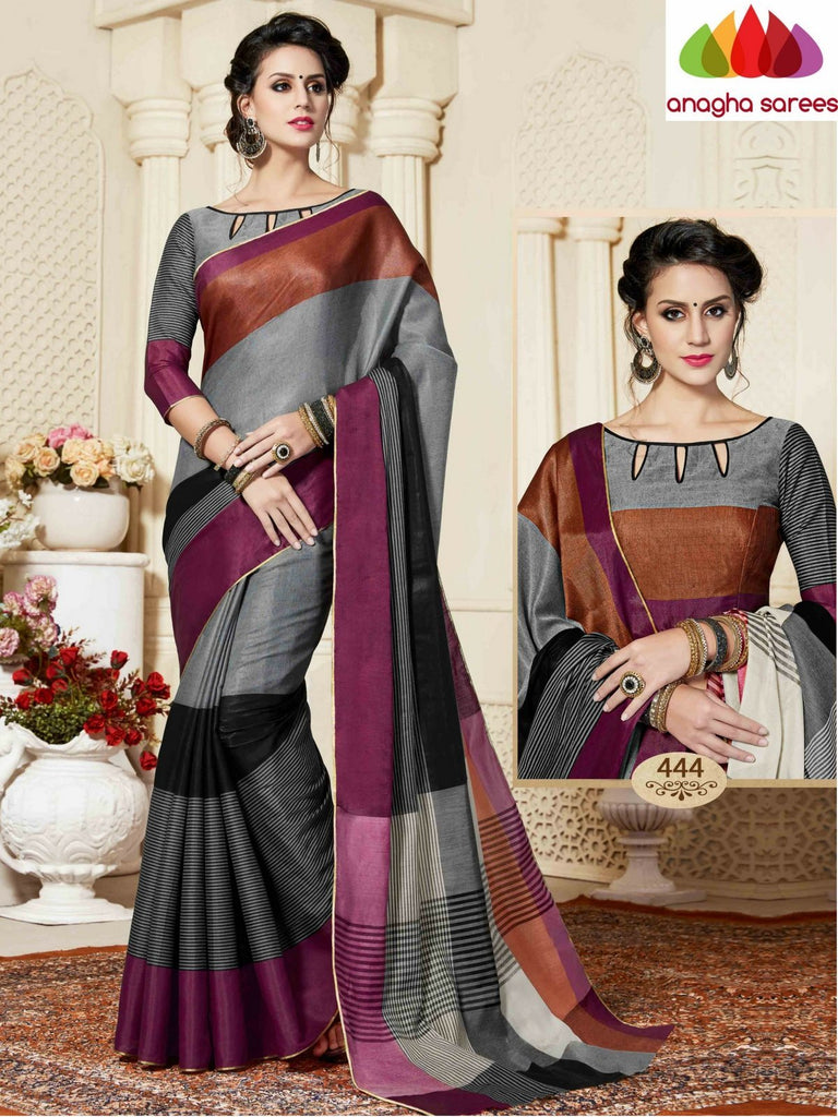 Fancy Cotton Saree - Grey/Multicolor : ANA_867 Anagha Sarees