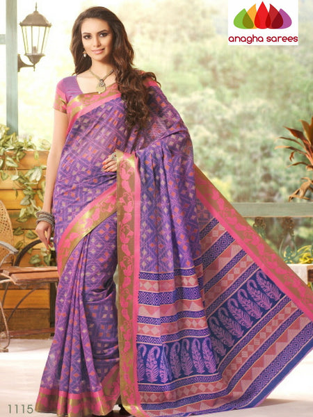 Anagha Sarees Cotton saree Fancy Cotton Saree - Lavender/Zari-Woven Border : ANA_212
