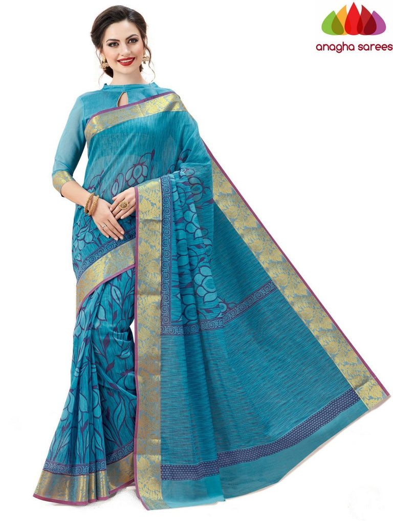Fancy Cotton Saree - Light blue : ANA_600 Anagha Sarees