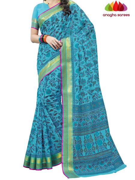 Anagha Sarees Cotton saree Fancy Cotton Saree - Light Blue : ANA_D17