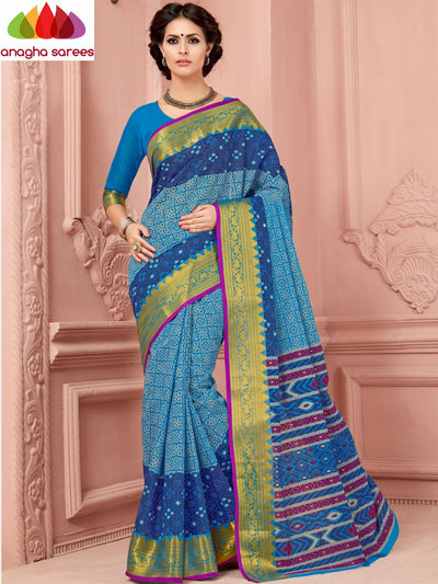 Fancy Cotton Saree - Light Blue/Dark Blue/Big Zari Border : ANA_338 - Anagha Sarees