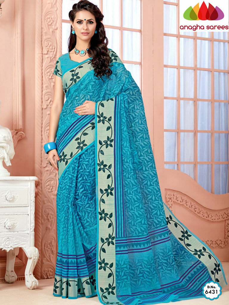 Anagha Sarees Cotton saree Fancy Cotton Saree - Light Blue/Floral Woven Border : ANA_350