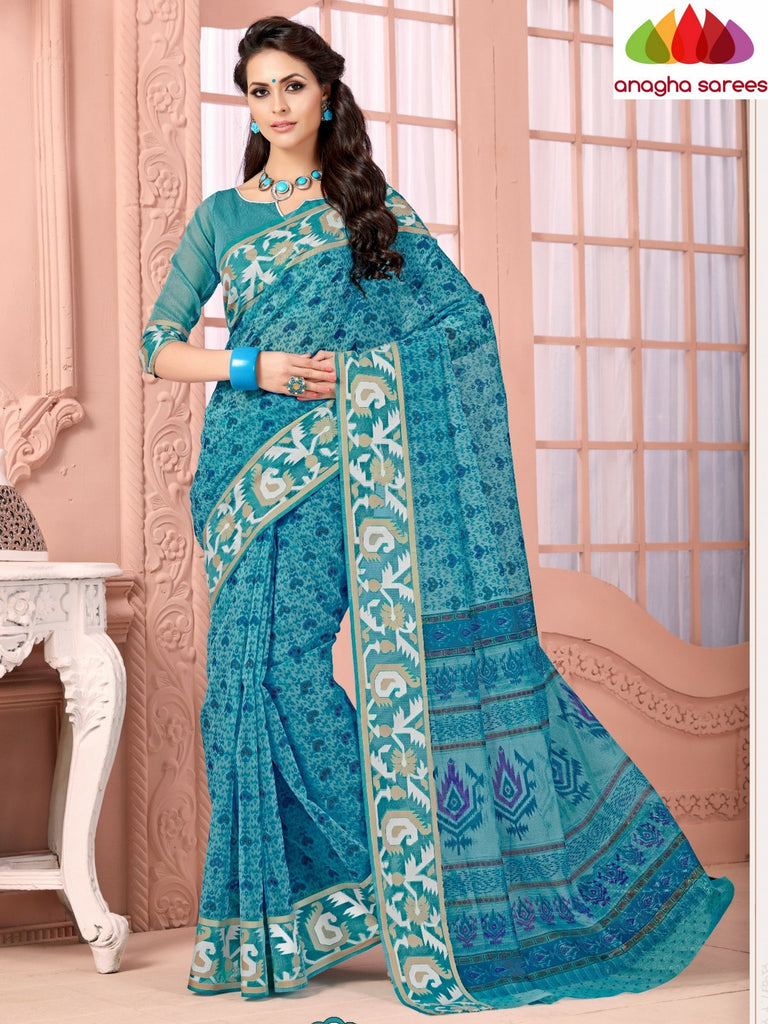 Fancy Cotton Saree - Light Blue/Rich Woven Border : ANA_475 Anagha Sarees