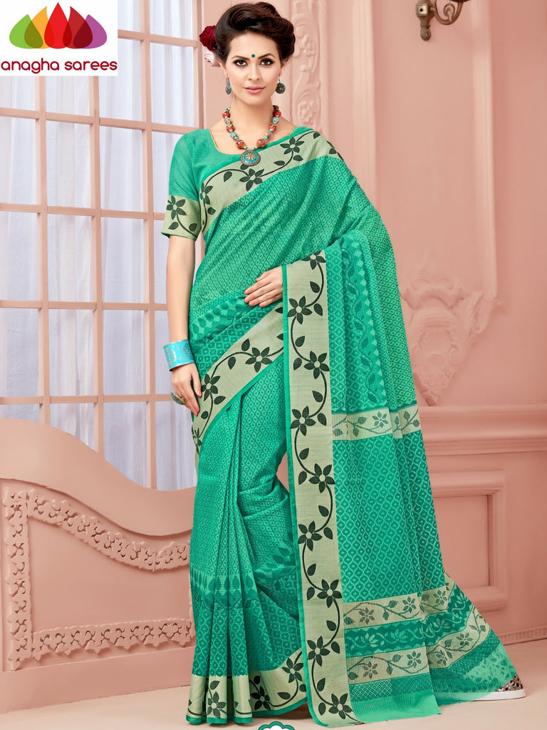 Fancy Cotton Saree - Light Green/Floral Woven Border : ANA_349 Anagha Sarees