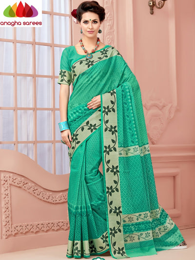 Fancy Cotton Saree - Light Green/Floral Woven Border : ANA_349 - Anagha Sarees