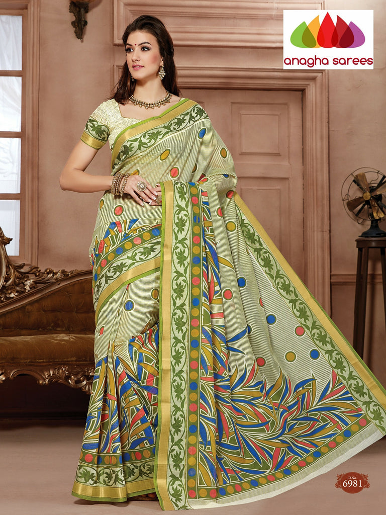Anagha Sarees Cotton saree Fancy Cotton Saree - Light green/Multicolor : ANA_92
