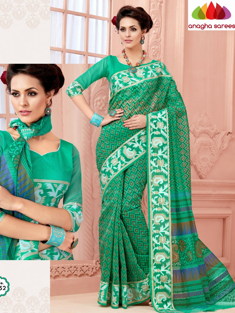 Fancy Cotton Saree - Light Green/Rich Woven Border : ANA_476 Anagha Sarees
