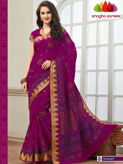 Fancy Cotton Saree - Magenta : ANA_123 - Anagha Sarees