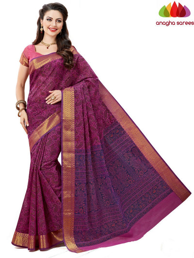 Fancy Cotton Saree -Magenta : ANA_603 - Anagha Sarees
