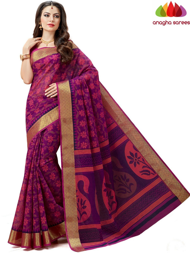 Fancy Cotton Saree -Magenta : ANA_604 Anagha Sarees