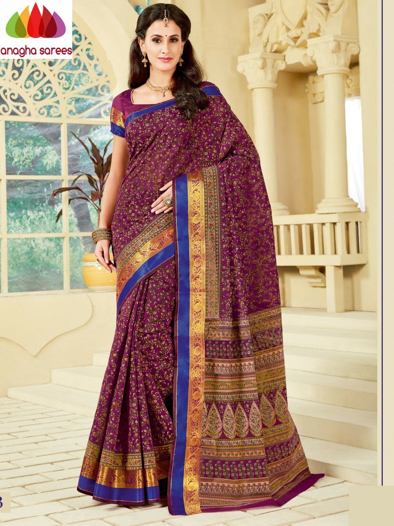 Fancy Cotton Saree - Magenta : ANA_A07 Anagha Sarees