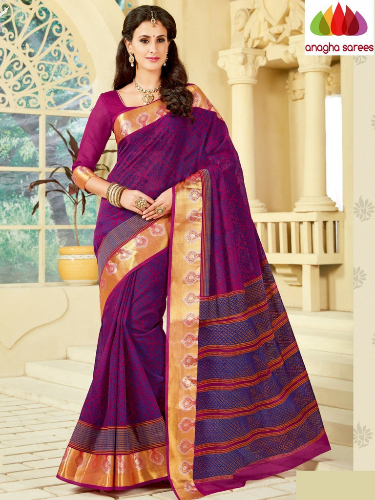 Fancy Cotton Saree - Magenta : ANA_A18 Anagha Sarees