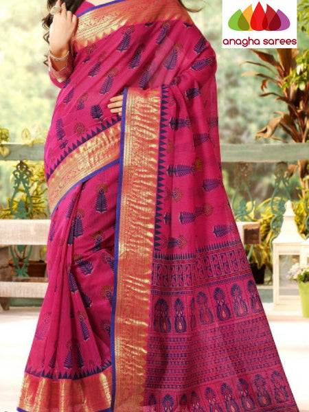 Anagha Sarees Cotton saree Fancy Cotton Saree - Magenta/Big Zari Border : ANA_209